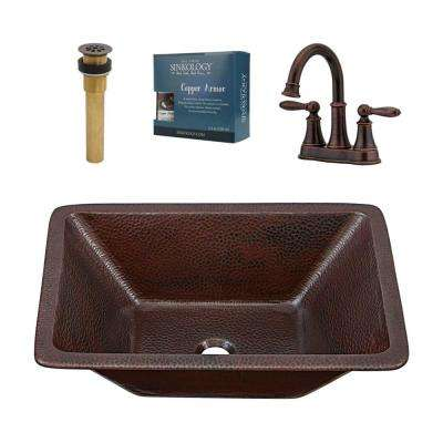 Hawking 20 in All-in-One Undermount or Drop-In Copper Sink with Pfister Faucet and Drain in Rustic Bronze Faucet