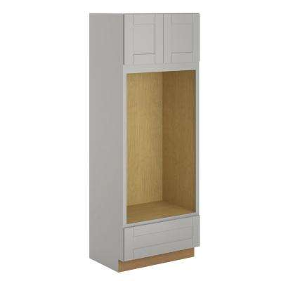 Princeton Shaker Assembled 33x90x24 in. Pantry/Utility Double Oven Cabinet in Warm Grey