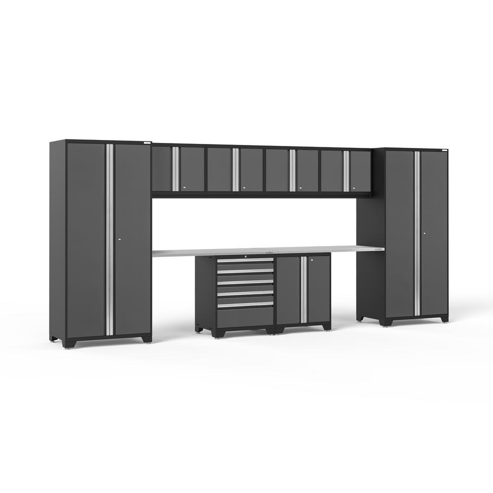 Pro 3.0 184 in. W x 83.25 in. H x 24 in. D 18-Gauge Welded Steel Stainless Steel Worktop Cabinet Set in Gray (10-Piece)