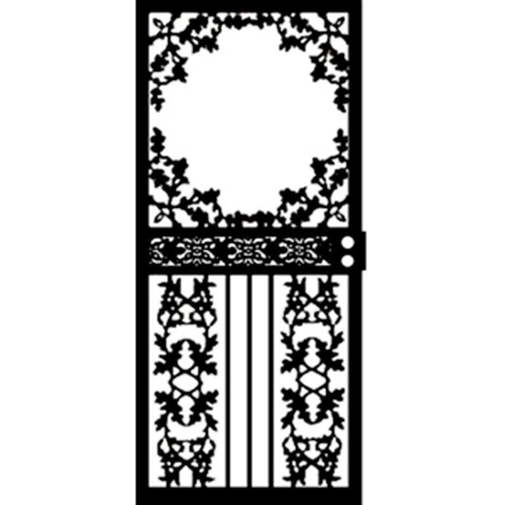 Grisham 36 in. x 80 in. 461 Series Black Scenic Hinge Left Security Door