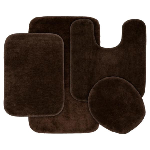 Chocolate 4 Piece Washable Bathroom Rug