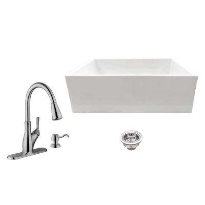 All-in-One Apron Front Fireclay 30 in. Single Bowl Kitchen Sink with Faucet and Strainer in White