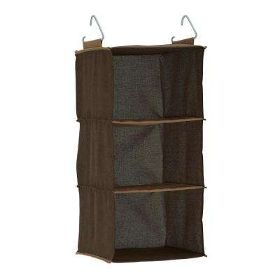 25 in. x 12 in., Brown, Hanging Closet Organizer with Three Shelves