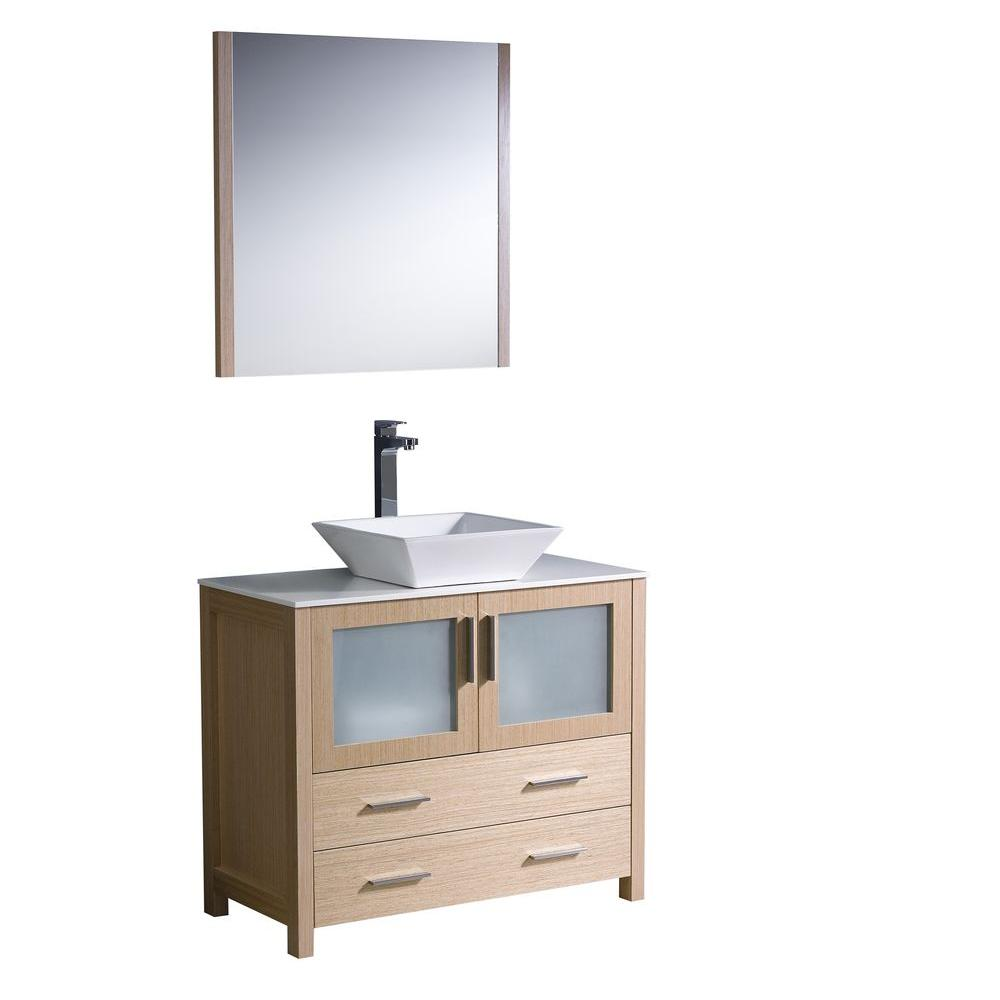 fresca torino 36 in vanity in light oak with glass stone vanity top in white with white basin. Black Bedroom Furniture Sets. Home Design Ideas