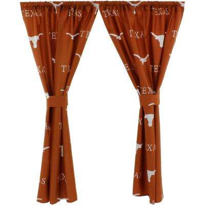 42 in. W x 63 in. L Texas Longhorns Cotton With Tie Back Curtain in Orange  (2 Panels)
