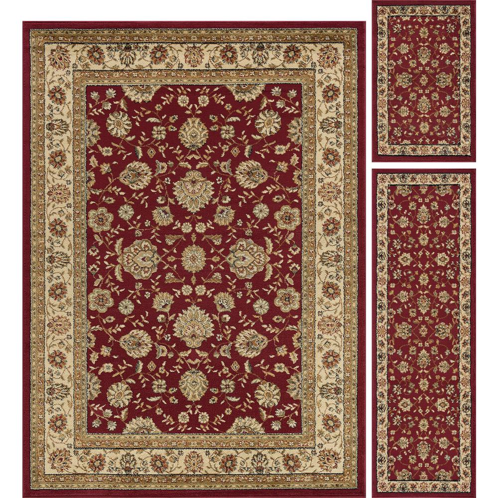 Tayse Rugs Elegance Red 5 Ft X 7 Ft 3 Piece Rug Set 5140 Red 3 Pc