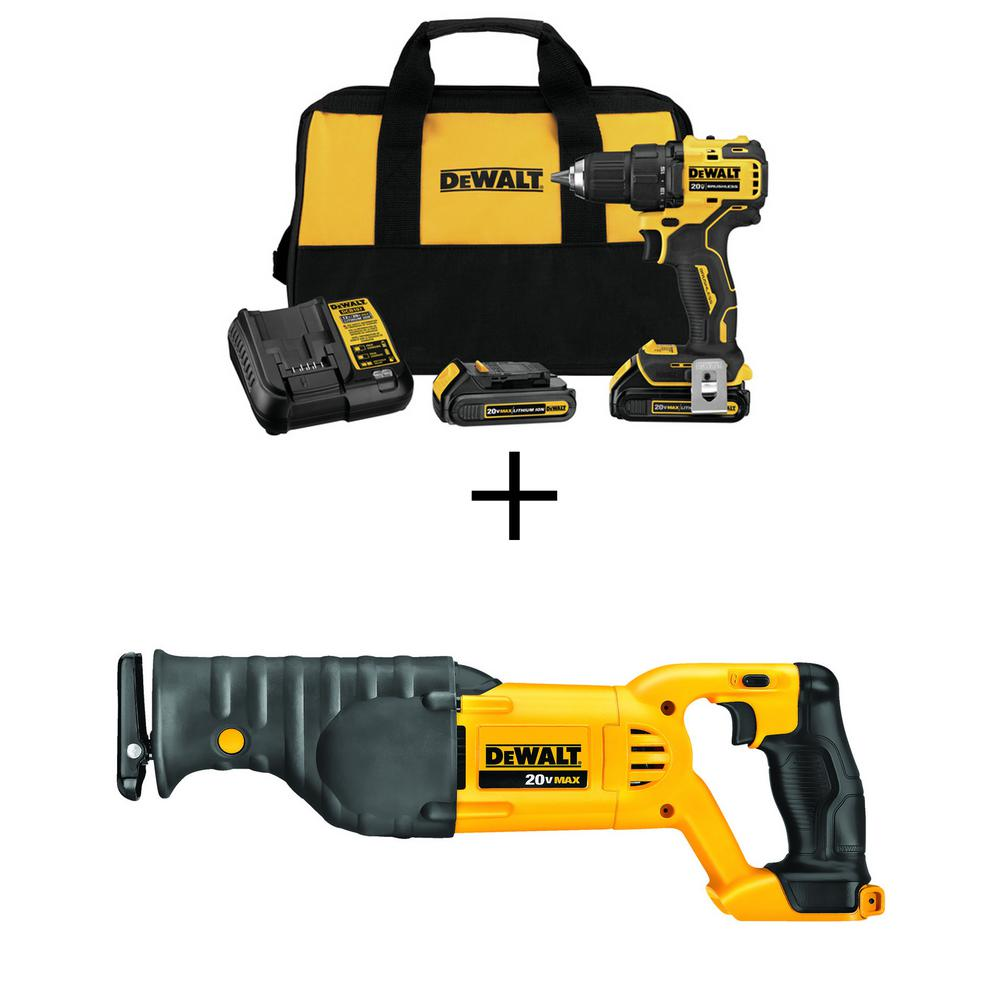 DEWALT ATOMIC 20-Volt MAX Lithium-Ion Brushless Cordless Compact 1/2 in. Drill Driver with Bonus Cordless Recip Saw (Tool-Only)