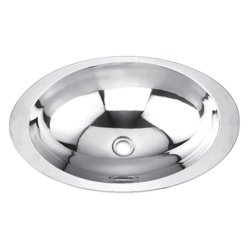 Yosemite Home Decor Drop-in 18G Stainless Self-Rimming Oval Bathroom Sink in Satin