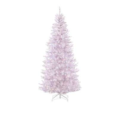 7.5 ft. Pre-Lit White Slim Fir Artificial Christmas Tree with 650 Clear Lights