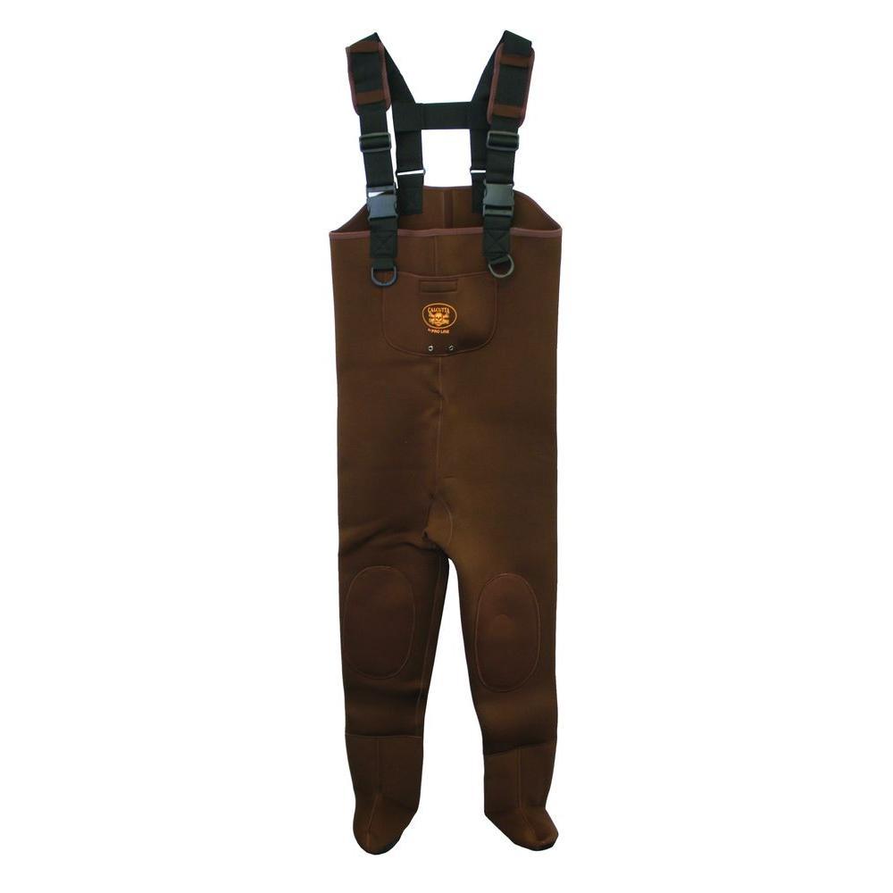 Men's Double Extra Large Neoprene Reinforced Knee Exterior Pocket Gravel Cuffs Adjustable Suspender Chest Wader in Brown