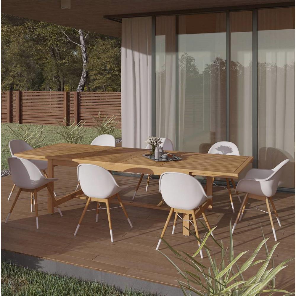 Carilo 9-Piece Wood Rectangular Patio Dining Set in Teak