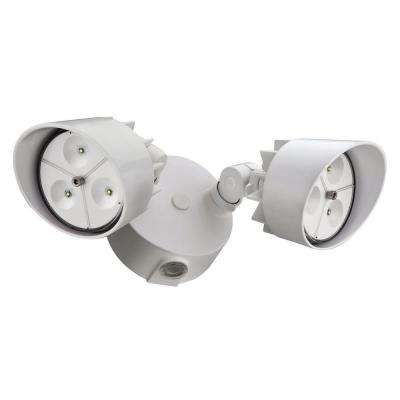 2-Head White Outdoor LED Wall-Mount Flood Light