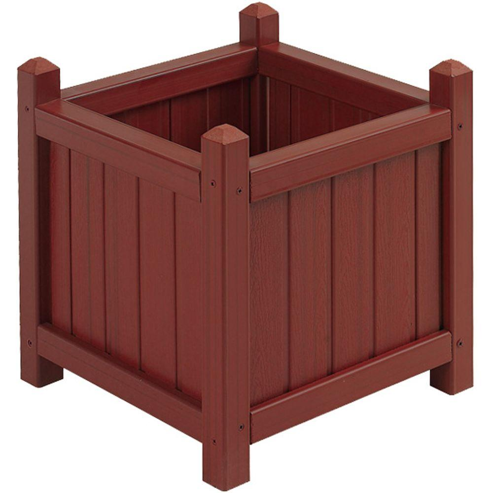16 in. Square Mahogany All Weather Composite Crown Planter