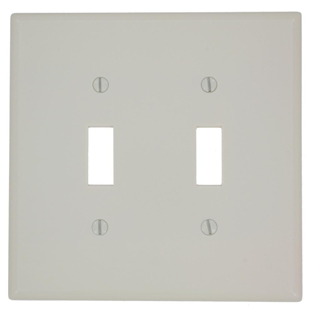 2-Gang Toggle Midway Size Switch Wall Plate, Light Almond
