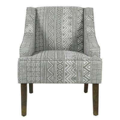 Tribal Gray Classic Swoop Accent Chair