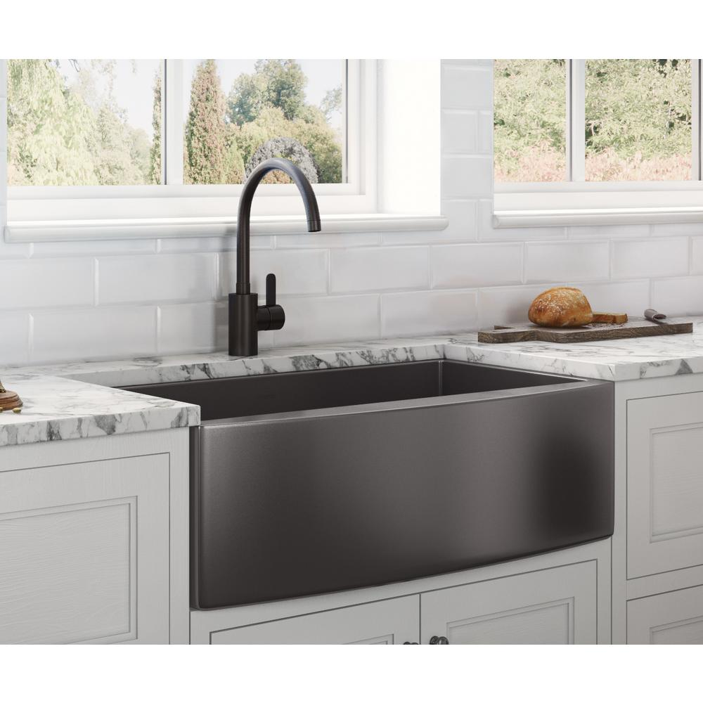 Ruvati Farmhouse Apron Front Stainless Steel 33 In Single Bowl Kitchen Sink In Gunmetal Black Matte Rvh9733bl The Home Depot