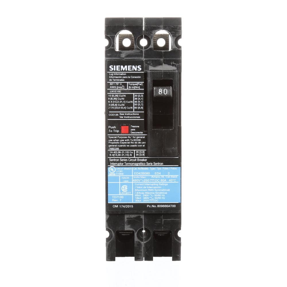 80 Amp 2-Pole Type ED 18 kA Circuit Breaker