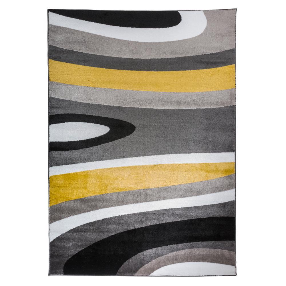 Abstract Contemporary Modern Gray Yellow Area Rug 9 X12