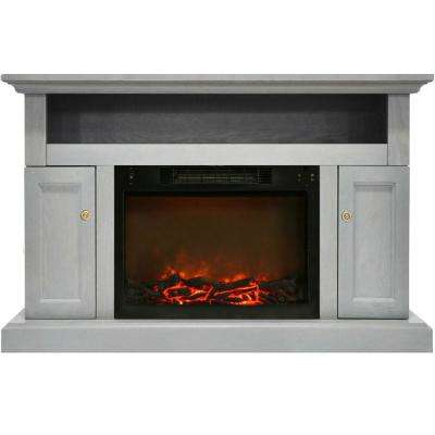 Sorrento Electric Fireplace with 1500-Watt Log Insert and 47 in. Entertainment Stand in Gray