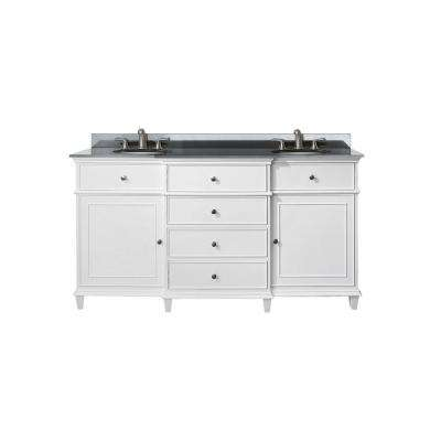 Windsor 61 in. W x 23 in. D x 35 in. H Vanity in White with Granite Vanity Top in Black and White Basins