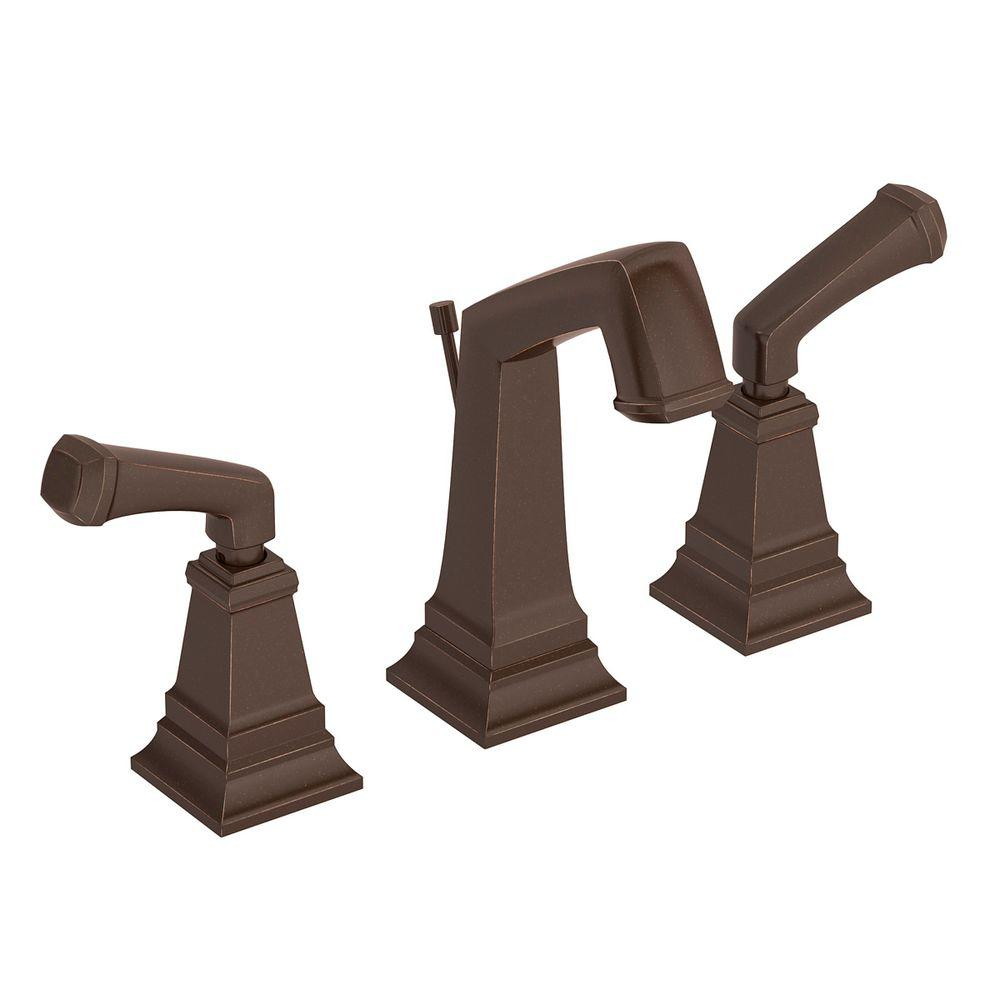 Symmons Oxford 8 in. Widespread 2-Handle Bathroom Faucet in Oil Rubbed Bronze with Drain