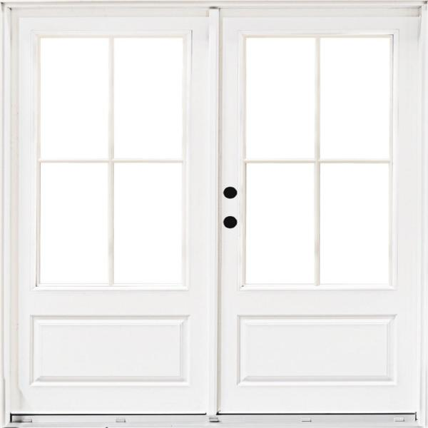 72 in. x 80 in. Fiberglass Smooth White Right-Hand Inswing Hinged 3/4-Lite Patio Door with 4-Lite SDL