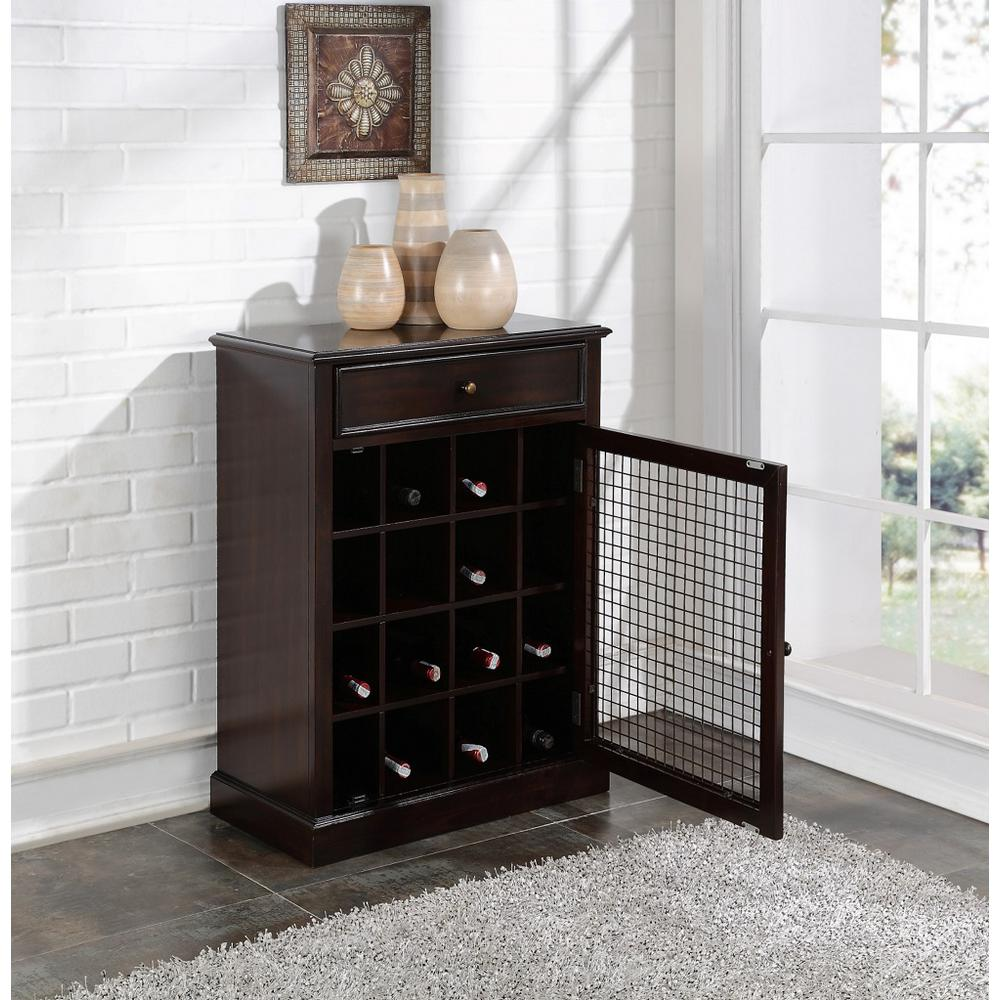 16 Bottle Dark Brown Bar Cabinet