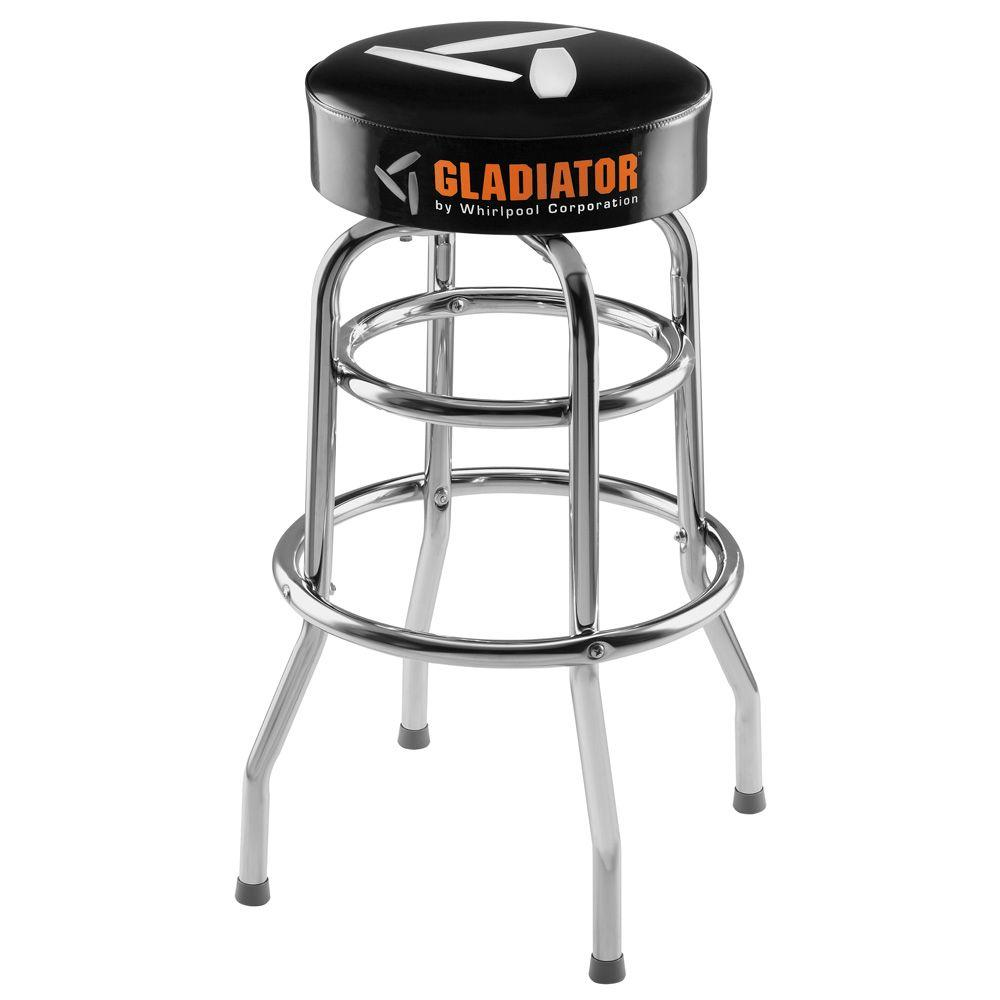 Tremendous Gladiator Ready To Assemble 30 In H X 15 In W Padded Swivel Garage Stool In Black And Chrome Andrewgaddart Wooden Chair Designs For Living Room Andrewgaddartcom