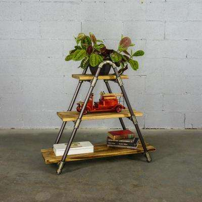 Charleston Industrial, Natural 32 in. Decorative 3-Shelf Display Pipe Bookcase/Etagere-Metal Reclaimed/Aged Wood