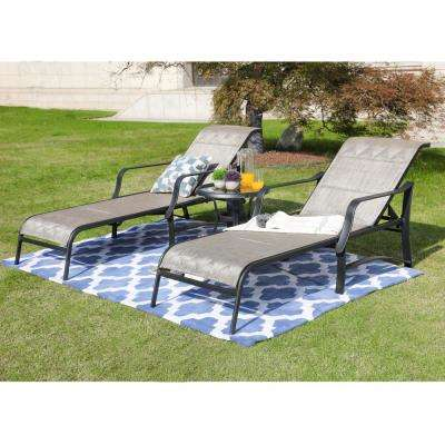 3-Piece Sling Outdoor Chaise Lounge in Gray