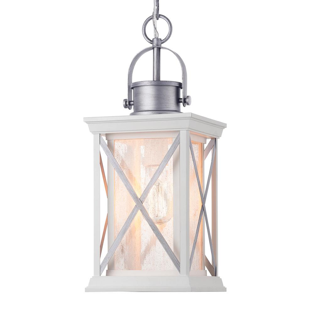 Progress Lighting Pendleton Satin White 1 Light Hanging Outdoor Lantern With Antique Silver Accents