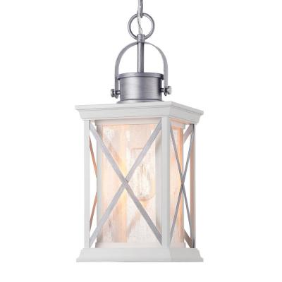 Pendleton Satin White 1-Light Hanging Outdoor Hanging Lantern with Antique Silver Accents