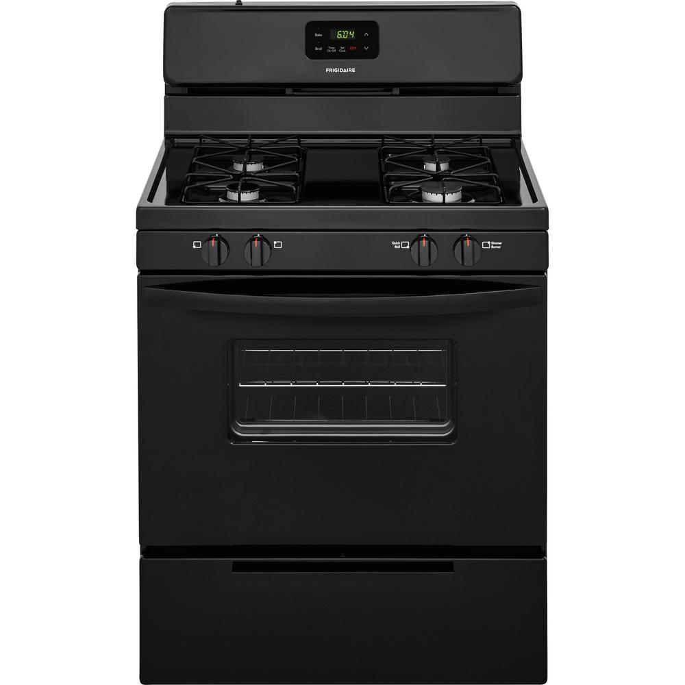 Ge 30 In 5 0 Cu Ft Free Standing Gas Range In Black