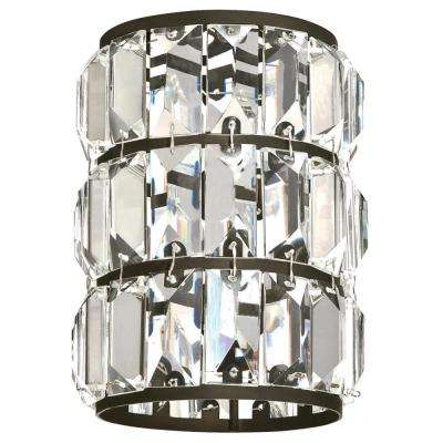 6-1/2 in. Crystal Prism and Oil Rubbed Bronze Cylinder Shade with 2-1/4 in. Fitter and 4-7/8 in. W