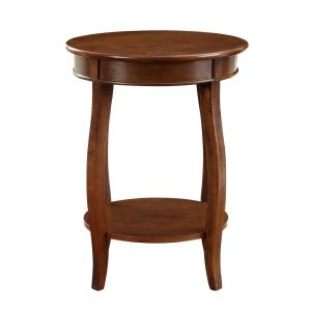 Hazelnut Round Table With Shelf