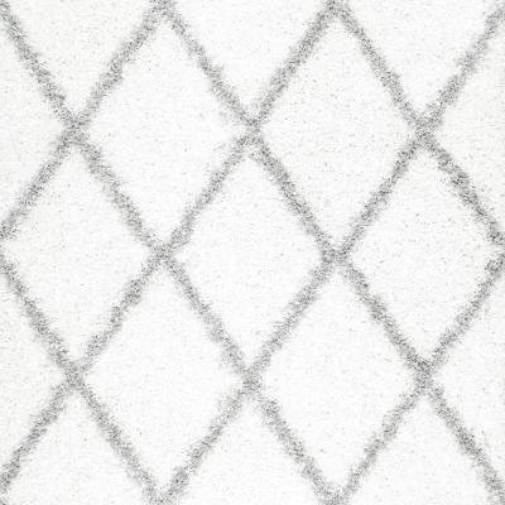 Shanna Easy Shag White 8 ft. Square Rug