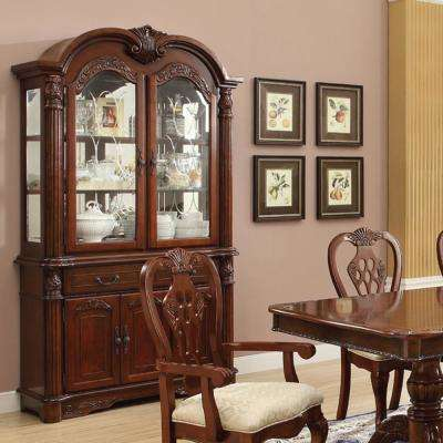 Home Source Cavalier Wooden Buffet & Hutch with a Brown Cherry Finish