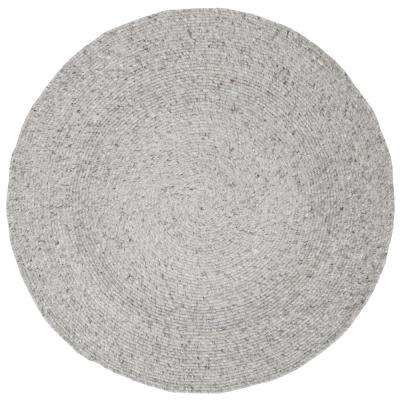 Braided Light Gray 3 ft. x 3 ft. Round Area Rug