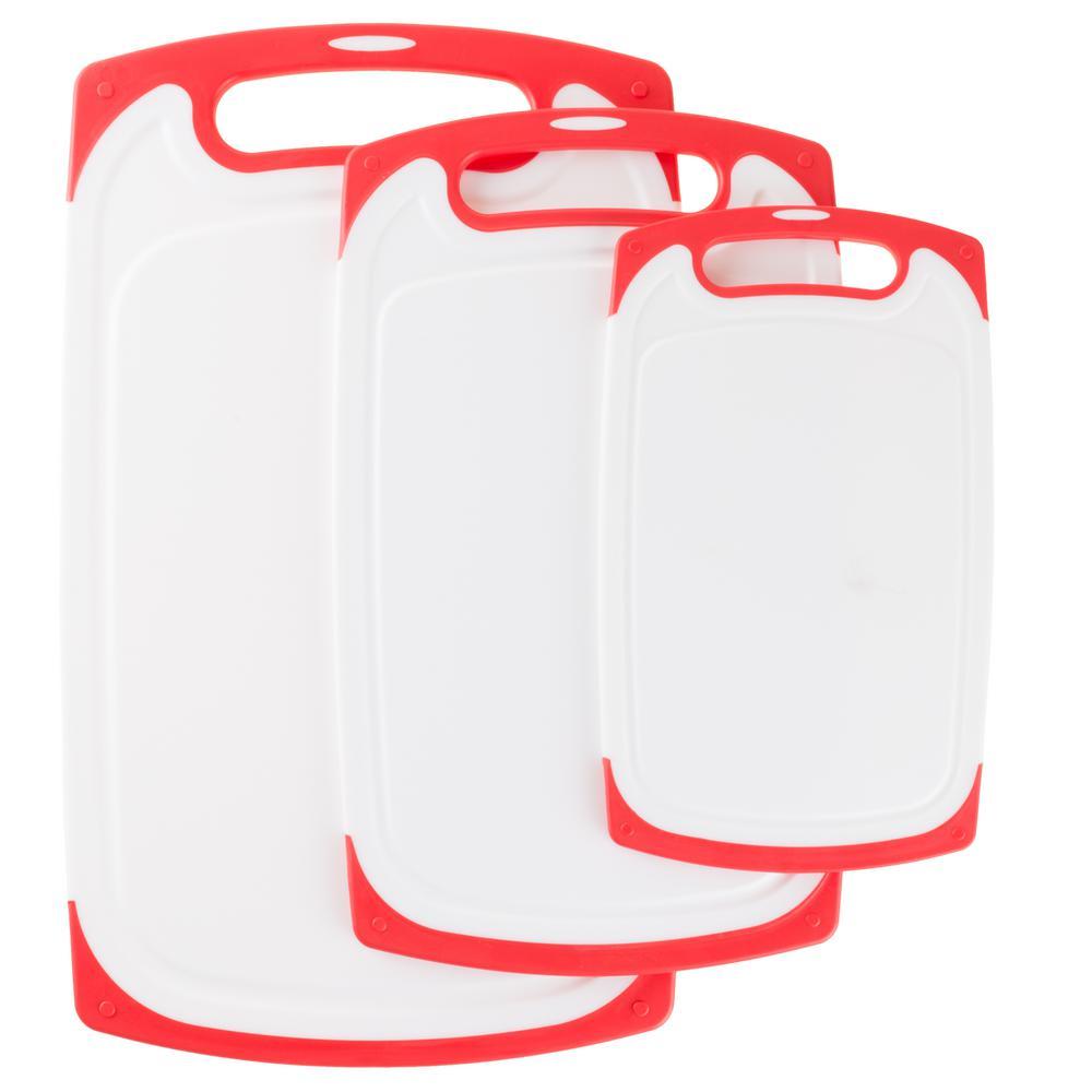 Trademark 3-Piece Plastic Cutting Board Set with Nonslip Edging by Trademark