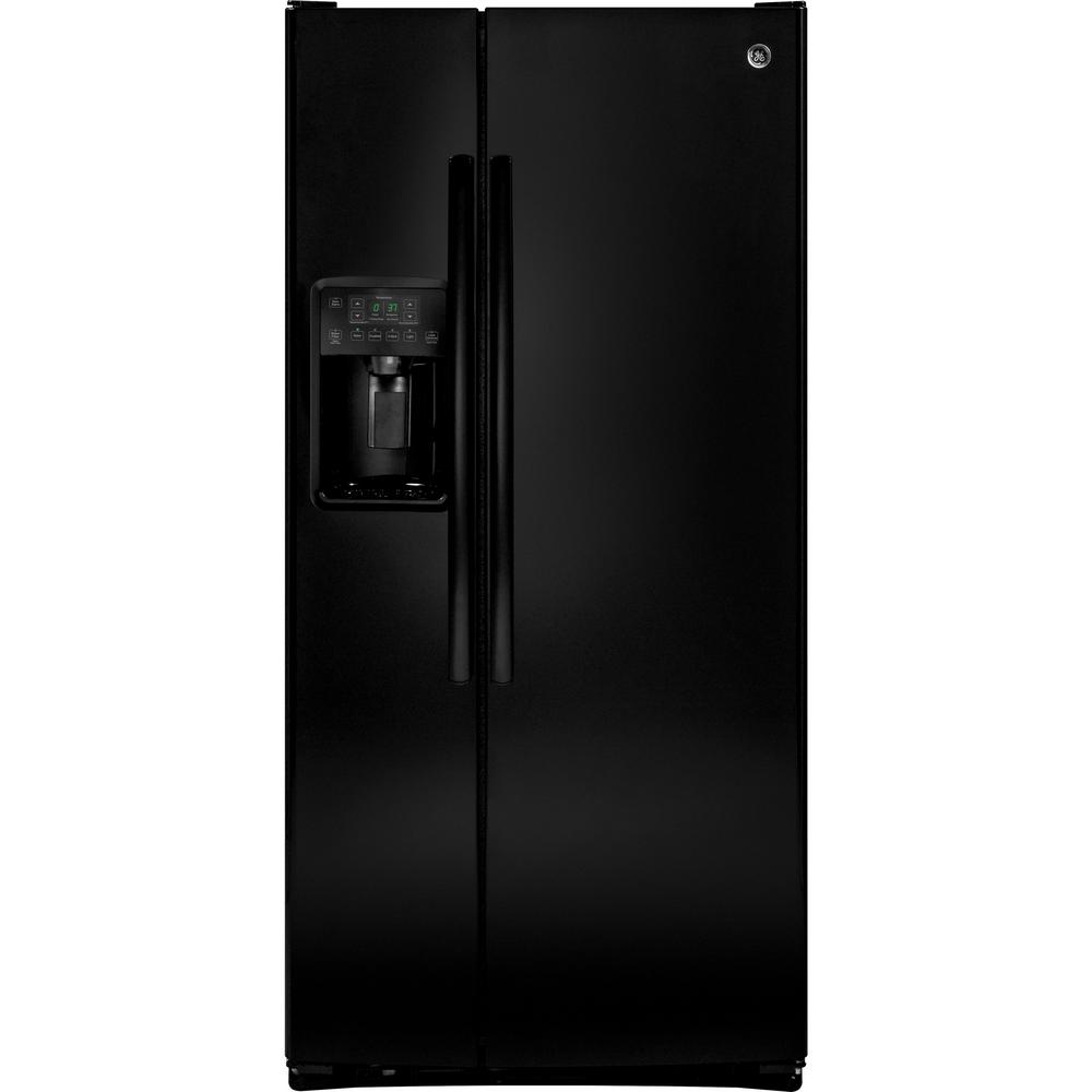 GE 23.2-cu ft Side-by-Side Refrigerator with Ice Maker (High-gloss Black) ENERGY STAR | GSE23GGKBB