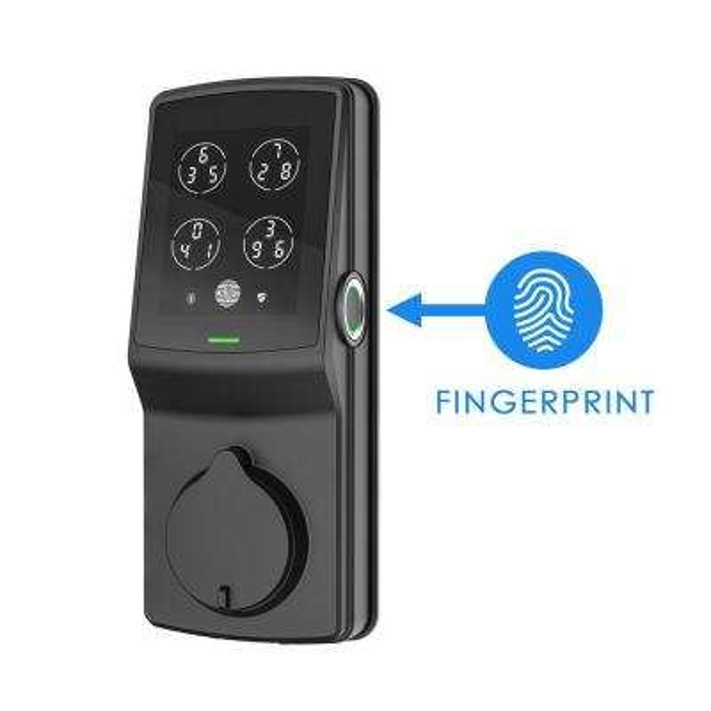 Secure Plus Matte Black Single-Cylinder Keypad Smart Alarmed Lock Deadbolt with Bluetooth, 3D Fingerprint Sensor