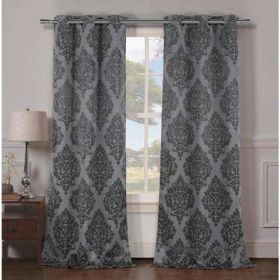Catalina 96 in. L x 36 in. W Polyester Blackout Curtain Panel in Grey (2-Pack)