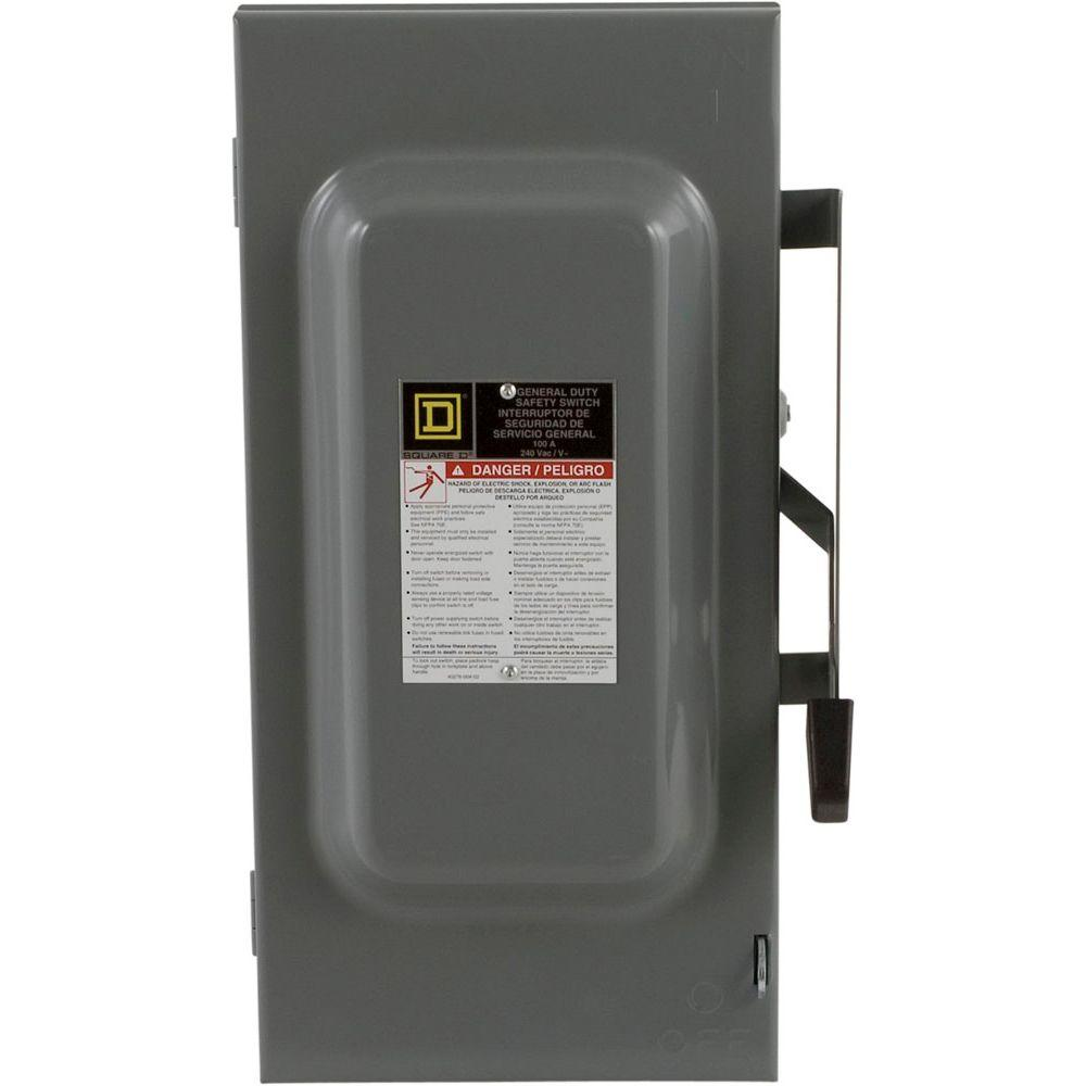 Square D 100 Amp 240-Volt 2-Pole Fused Indoor General Duty Safety Switch