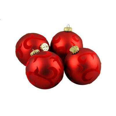 2.75 in. 70 mm Red Flocked Flourish Shatterproof Christmas Ball Ornaments (4-Count)