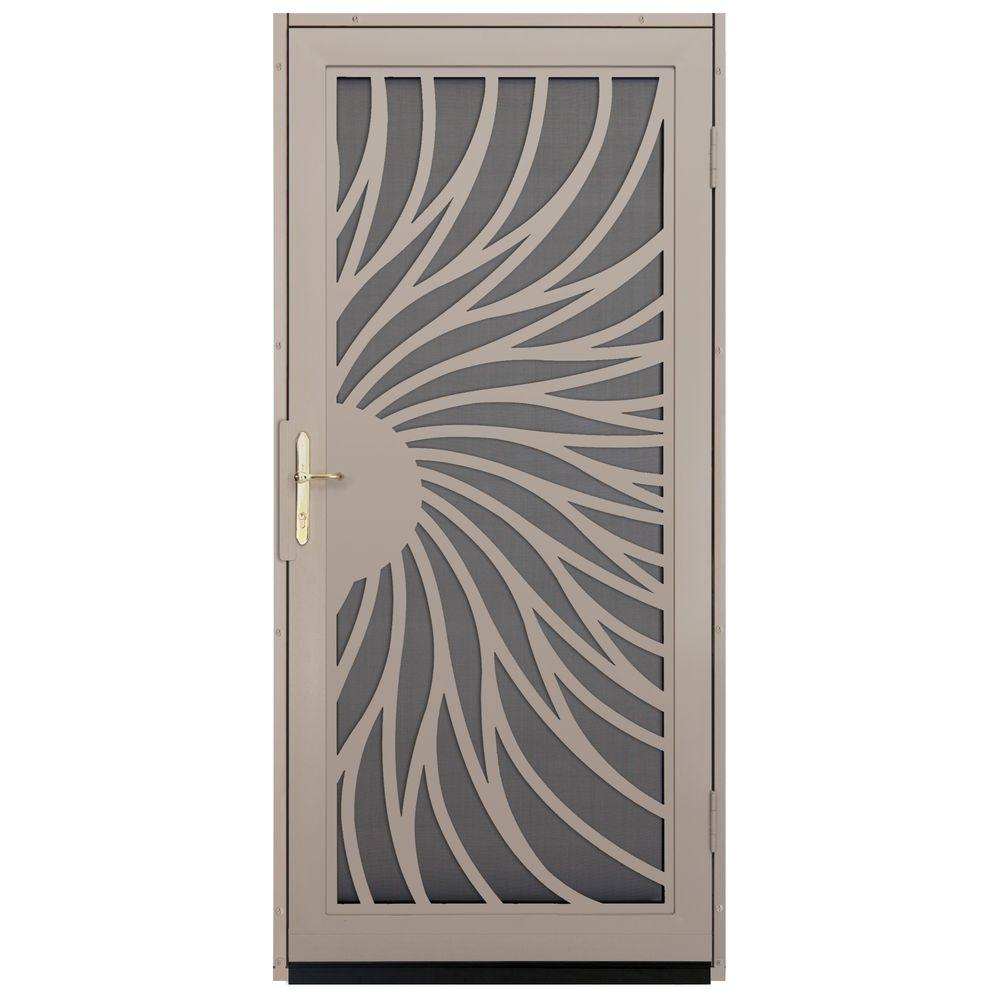 Unique Home Designs 36 in. x 80 in. Solstice Tan Surface Mount Steel Security Door with Insect Screen and Brass Hardware