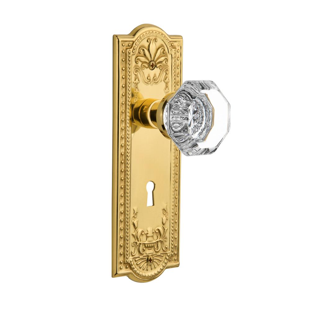 Meadows Plate with Keyhole 2-3/4 in. Backset Unlacquered Brass Privacy Waldorf