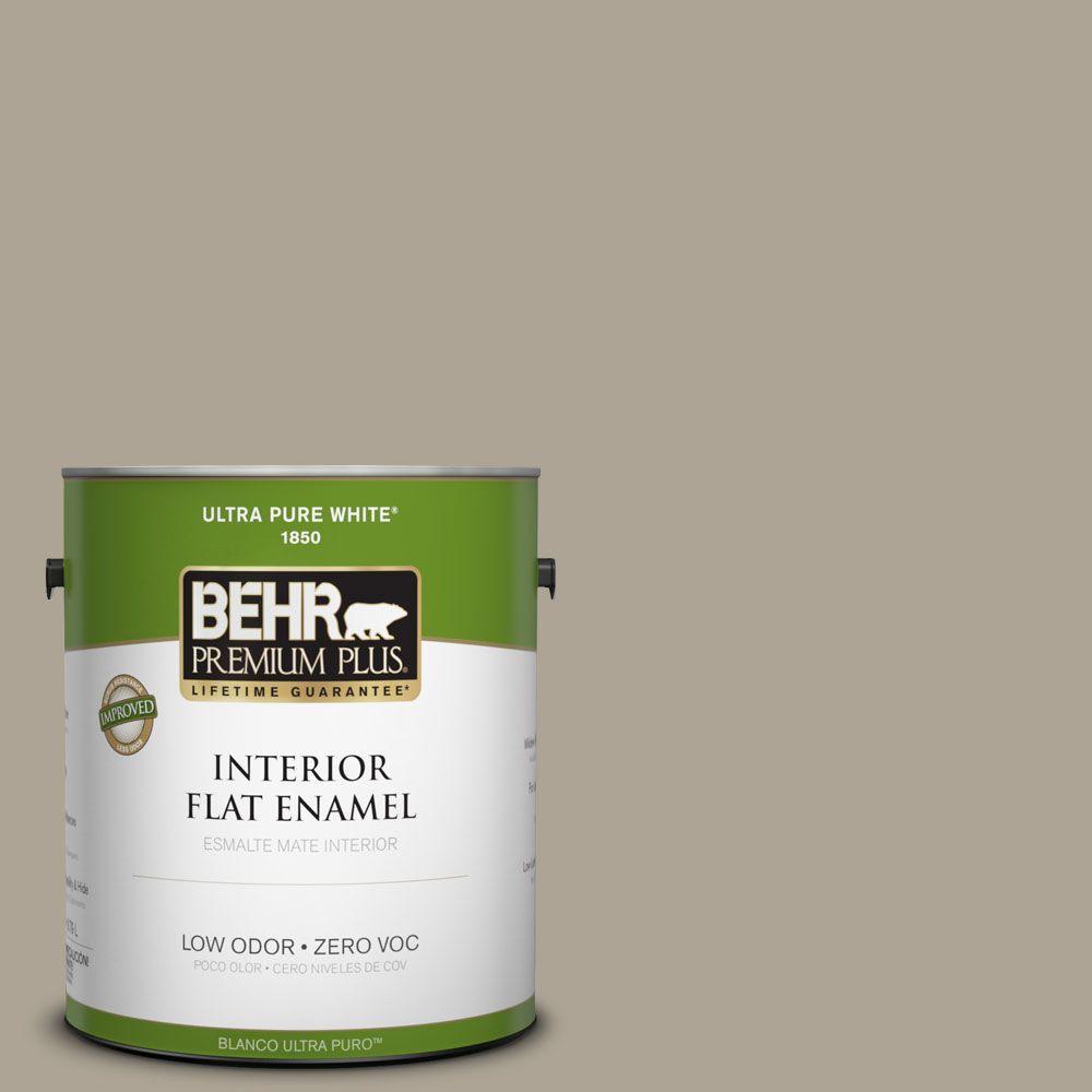BEHR Premium Plus Home Decorators Collection 1-gal. #HDC-NT-14 Smoked Tan Zero VOC Flat Enamel Interior Paint-DISCONTINUED