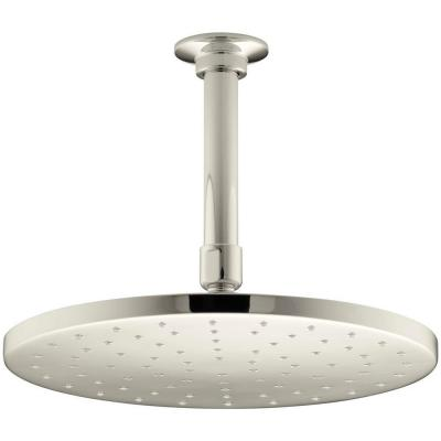 1-Spray 10 in. Single Ceiling Mount Fixed Rain Shower Head in Vibrant Polished Nickel
