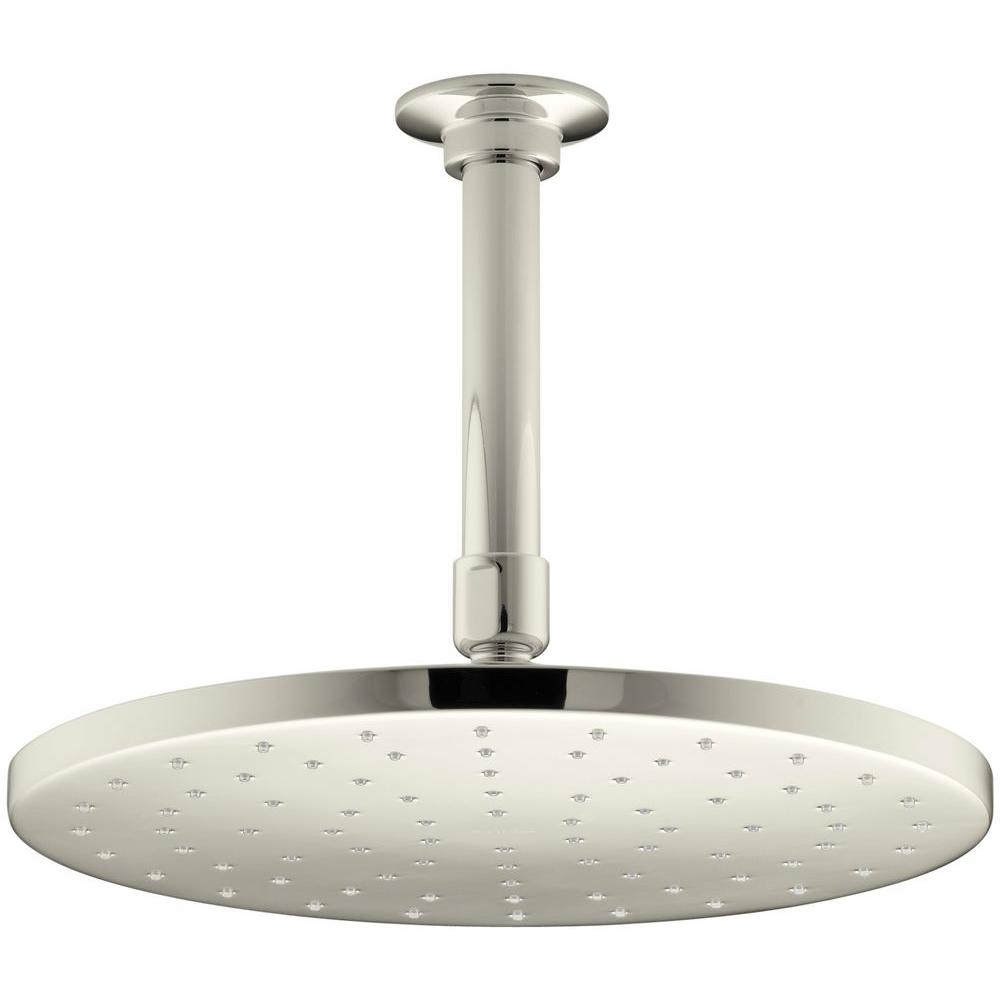 1-Spray Single Function 10 in. Raincan Contemporary Round Showerhead with