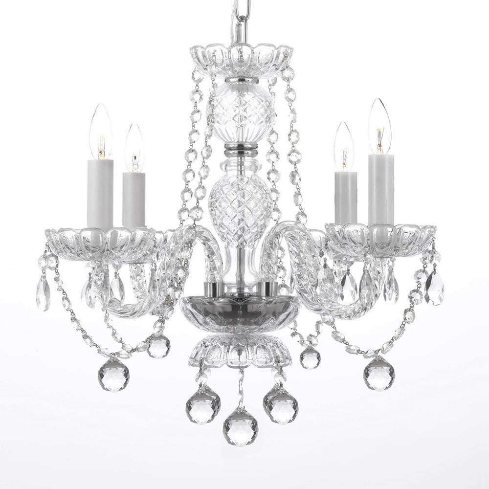Empress Crystal 4-Light Swarovski Crystal Chandelier with Faceted Crystal Balls